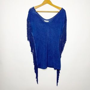 Umgee Blue Fringe Boho Top